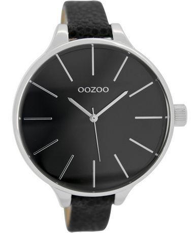OROLOI.gr - Ρολόγια OOZOO TIMEPIECES - OOZOO XL Τimepieces Slim Black  Leather Strap 09b77037d58