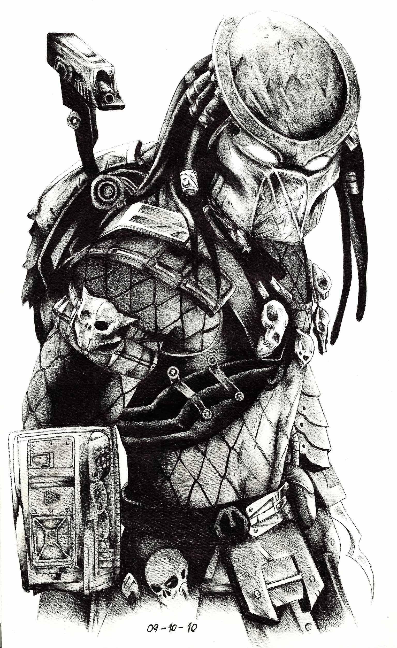 predator vs jason coloring pages - photo#43