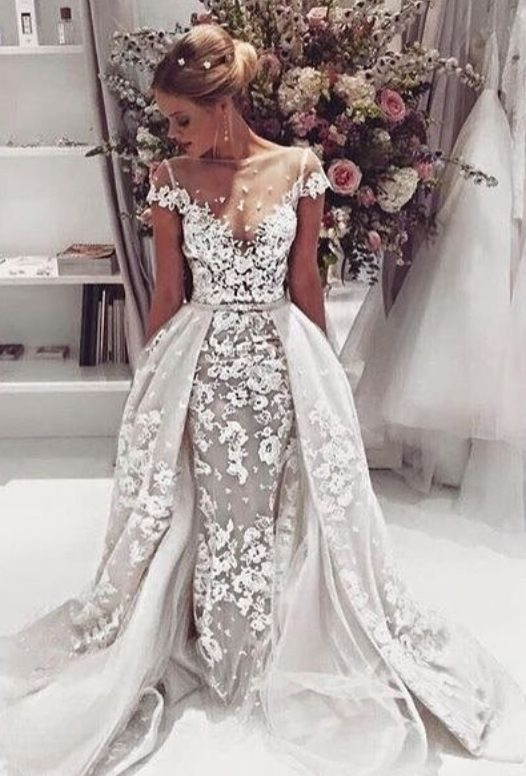 Sexy Mermaid Trumpet Scoop Court Train Cap Sleeves Lace Wedding