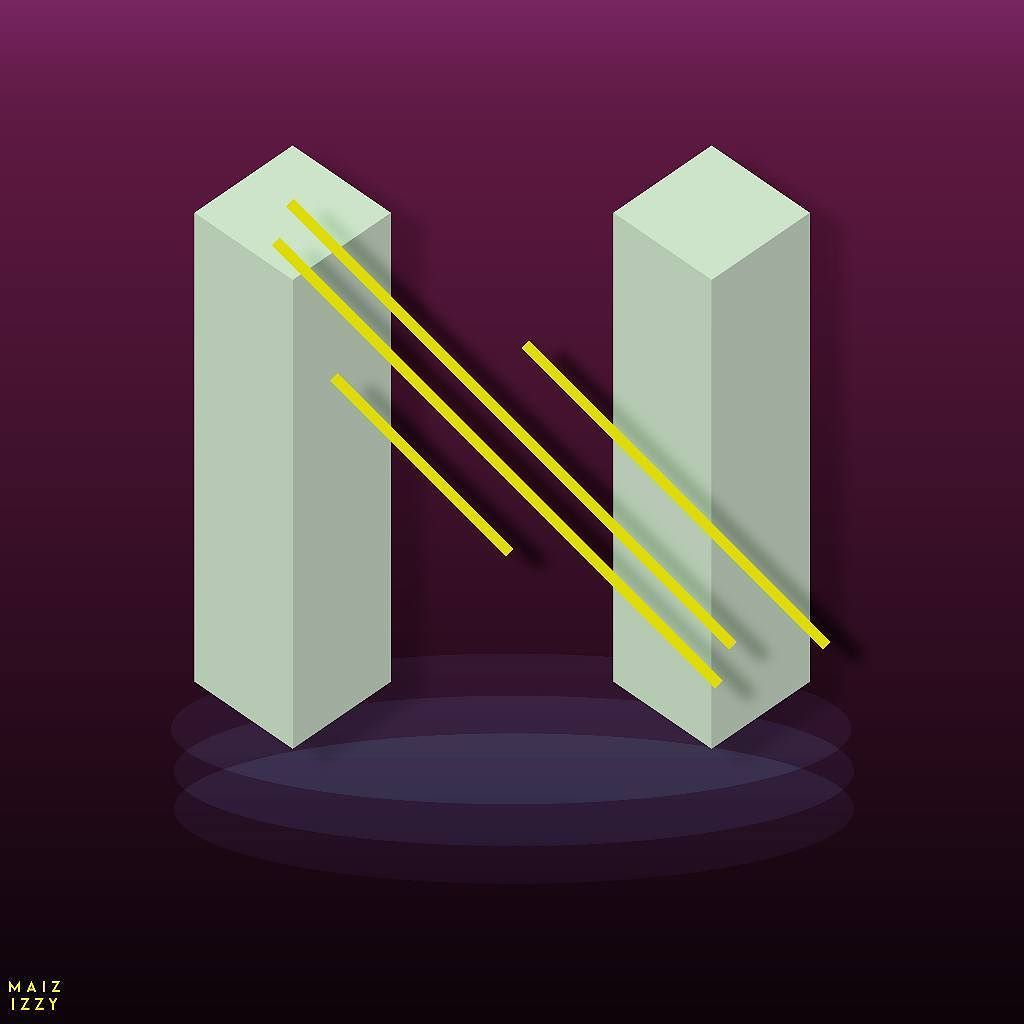 N.  #36daysoftype #36days_N #maiz #izzy #graphic #graphicdesign #illustrate #illustration #adobeillustrator #lettering #lettern #futurism #geometry #polygons #colors #isometric #yellow #gradient by maizizzy