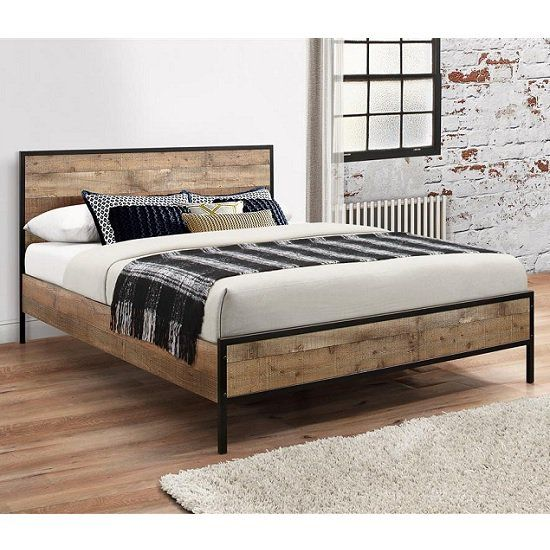 Coruna Wooden King Size Bed In Rustic And Metal Frame Wooden King Size Bed Rustic Bed Frame Wooden Double Bed
