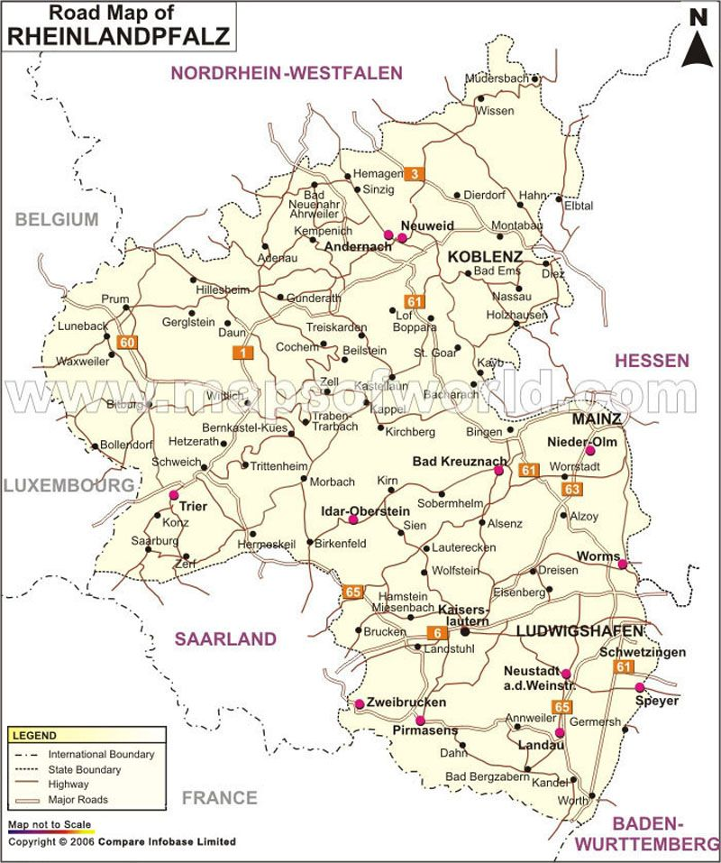 RheinlandPfalz Road Map Germany Maps Pinterest Rheinland