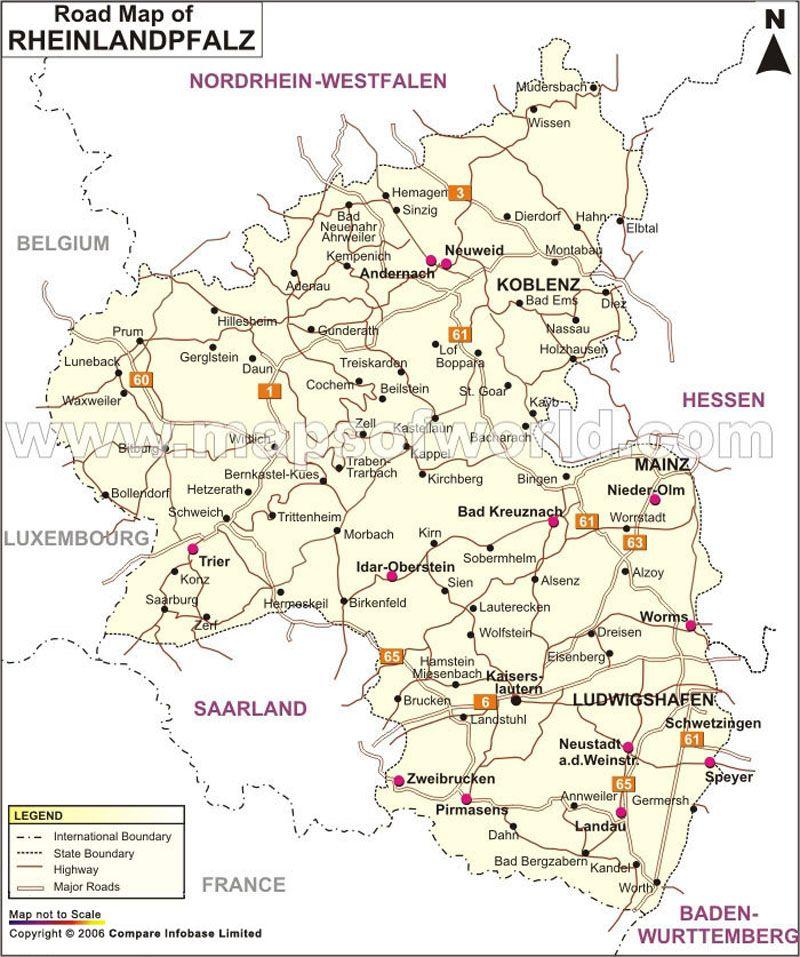 RheinlandPfalz Road Map Traveling Pinterest Rheinland
