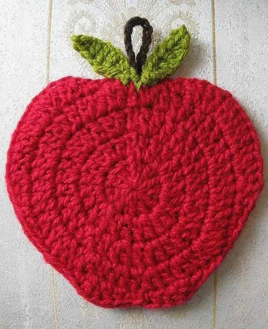 Agarradera manzana idea | Crochete | Pinterest | Topflappen, Garn ...