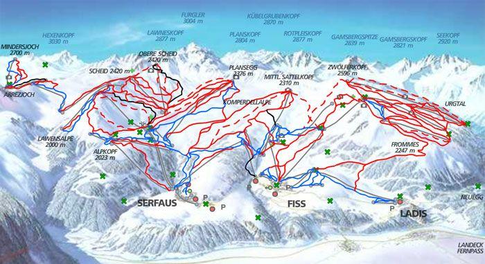 Fiss Ski Piste Map Vakantie Mooie Plaatsen Skien