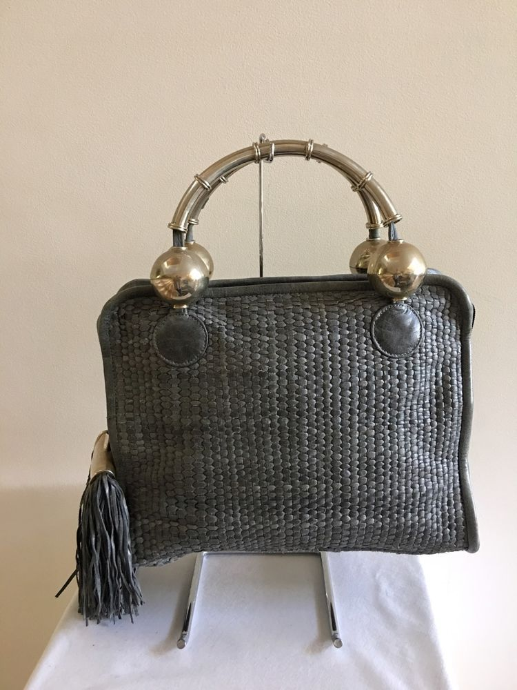 Authentic PEREZ SANZ Gray Woven Shoulder Handbag Bag  PerezSanz  ShoulderBag ee7d9152a3db