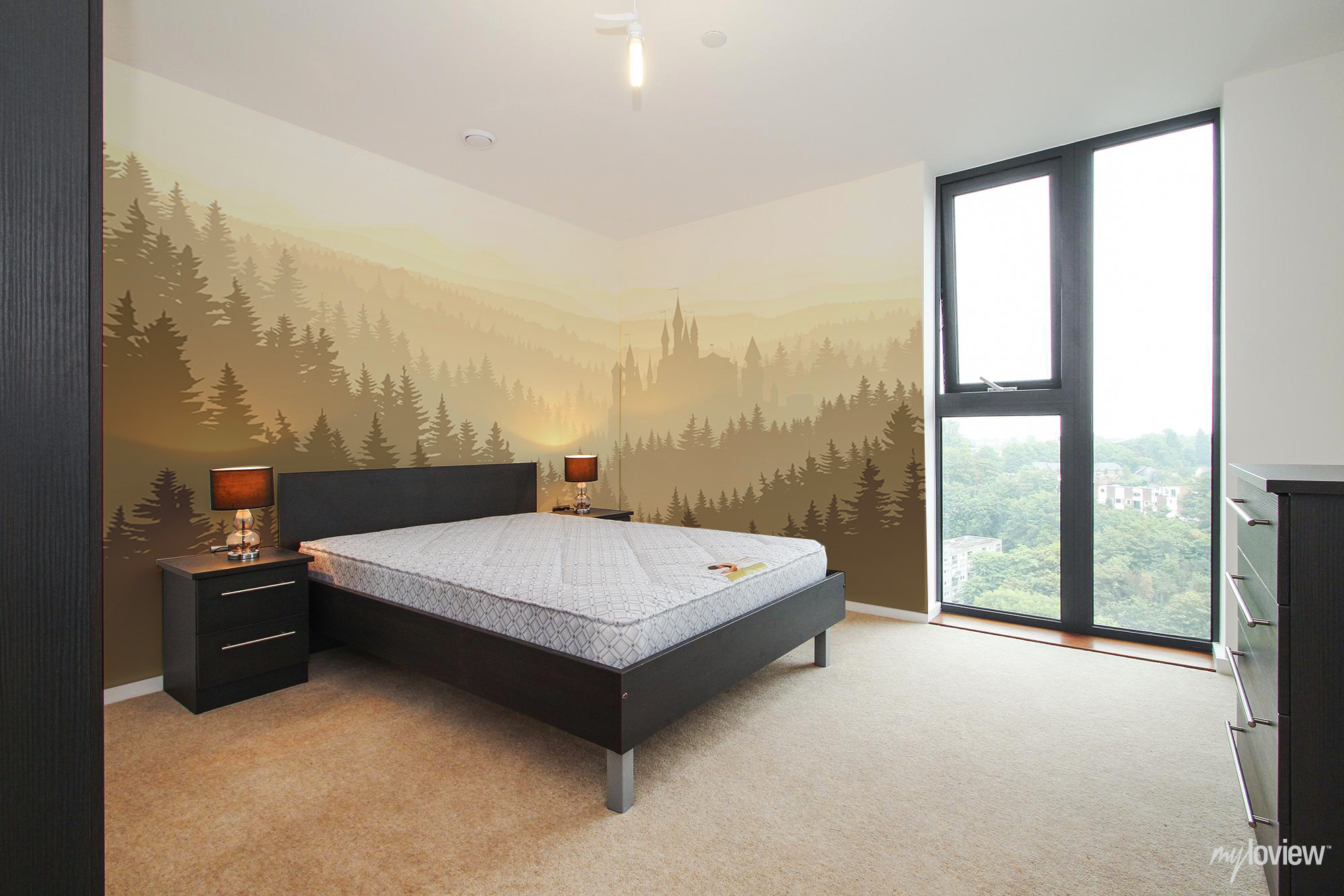 Misty forest and castle wallmural bedroom myloview landscapes misty forest and castle wallmural bedroom myloview amipublicfo Image collections