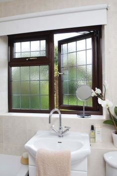 Rain Glass Textured Glass For Bathroom Windows Black Grid