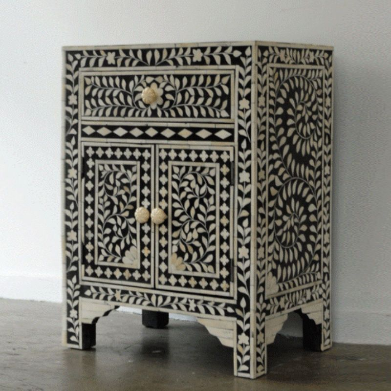 Floral Antique Handcrafted Bone Inlay Bed-Side Table Handmade Furniture  #rajwadiexports #ArtsCraftsMissionStyle