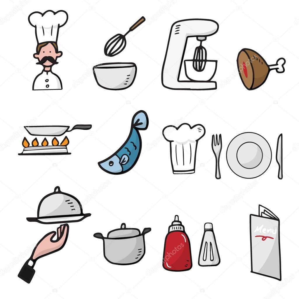 Chef Y Cocina Dibujos Animados Dibujar Iconos Ilustracion De