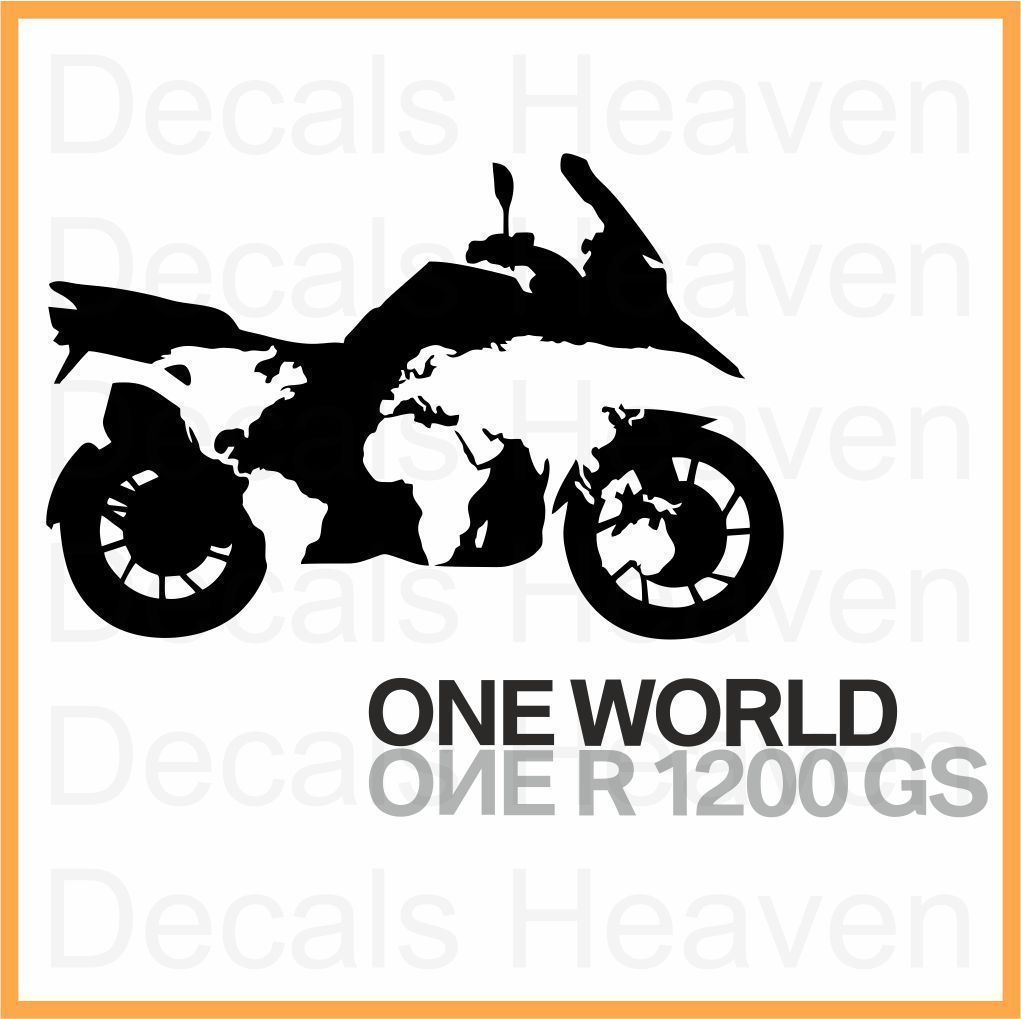 Bmw one world one r1200gs logo sticker car bumper window motorcycle decal