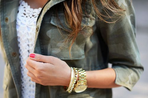 army jacket with feminine gold watch. love.