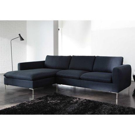 Ecksofa 5-Sitzer aus Stoff, nachtblau - wohnzimmer couch gemutlich