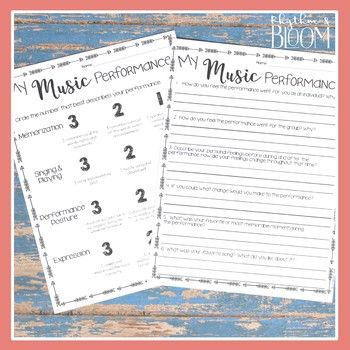 Music Performance Self Evaluation Worksheets, 4-8 3-5 Music