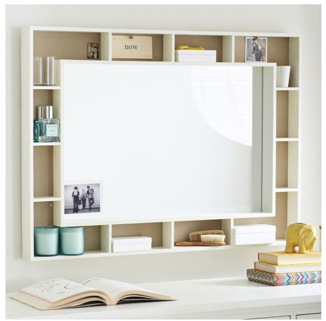 Shelving Around A Whiteboard Corkboard Mirror Nice