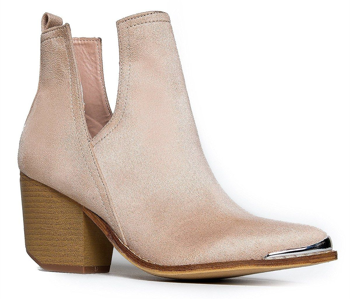 2017.01.20 Work-Appropriate Winter Boots - MI IM Western Slip-On V-Cutout Stacked Heel Booties, $54, amazon.com*