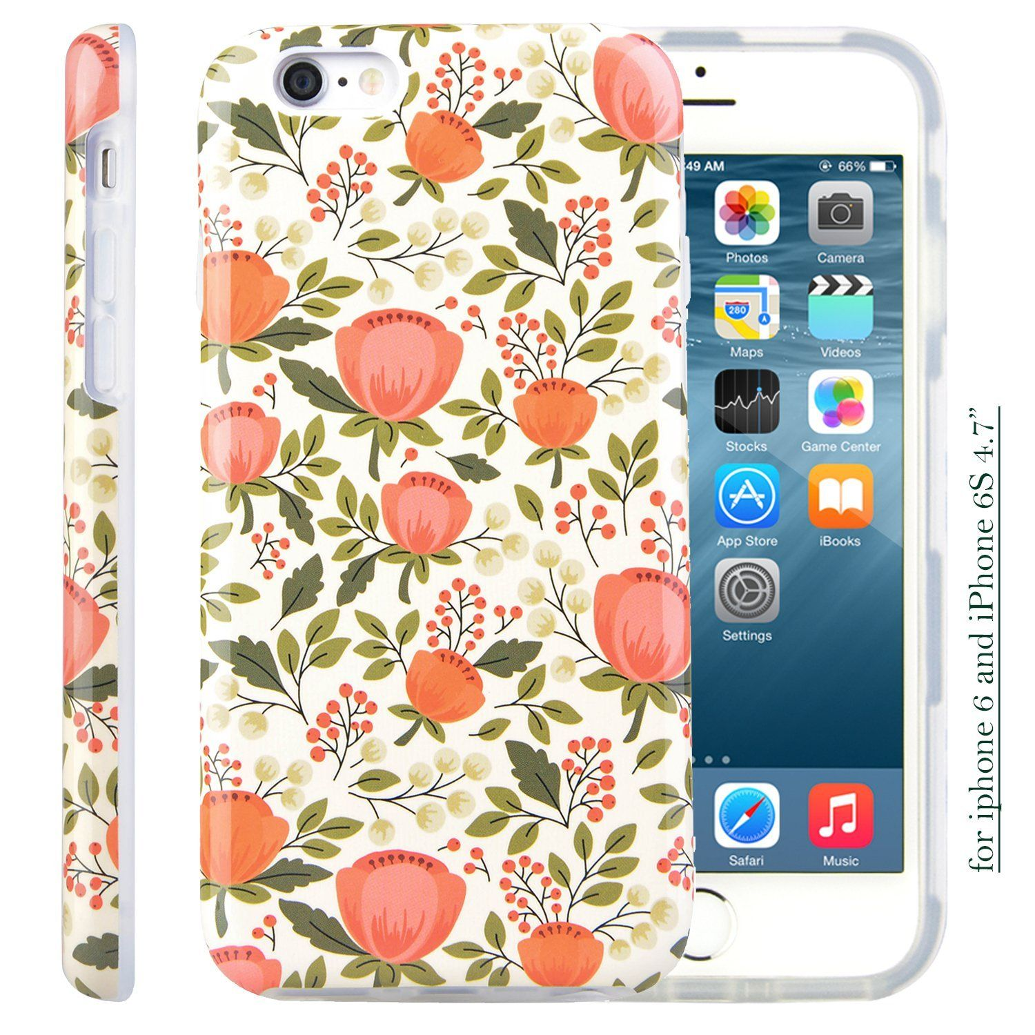 Iphone 6s Case For Girls Dimaka Printed Floral Pattern Retro Cute Style Full Side Protective 2 Layer Case With Glossy Cov Iphone 6s Case Floral Pattern Iphone