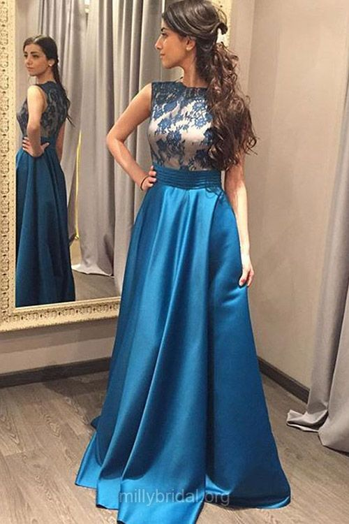 Modest Long Prom Dresses, Blue Formal Dresses, A-line Party Dresses, Scoop Neck Satin with Lace Evening Dresses