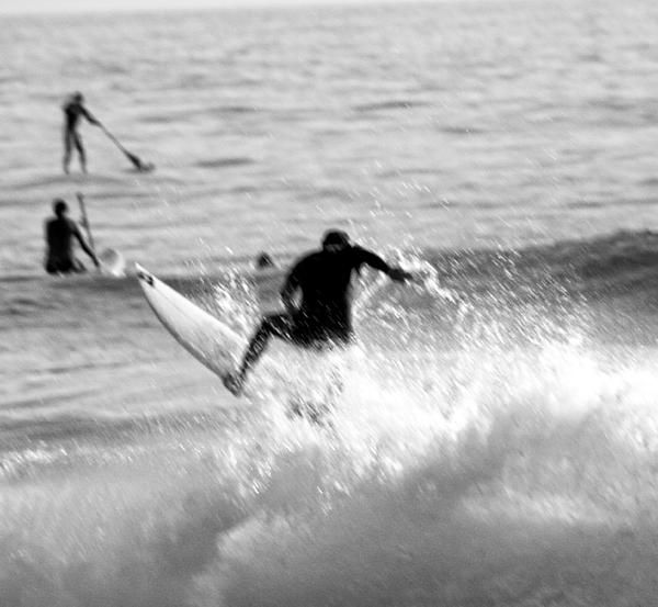 I captured a moment of a clash within surf culture, the thrashers and the mellow dudes. I surf and indeed know. It's just a culture. LOL