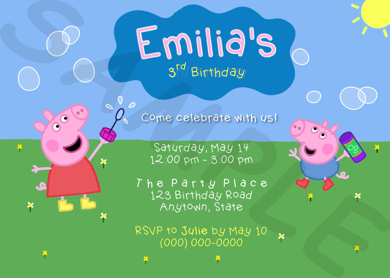 Custom Peppa Pig George Printable Party Invitation https://www.etsy ...