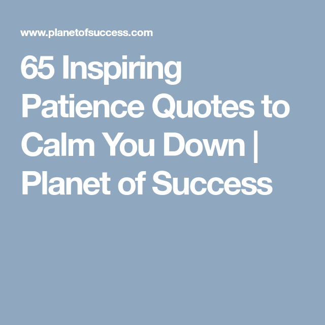 65 Inspiring Patience Quotes To Calm You Down Planet Of Success