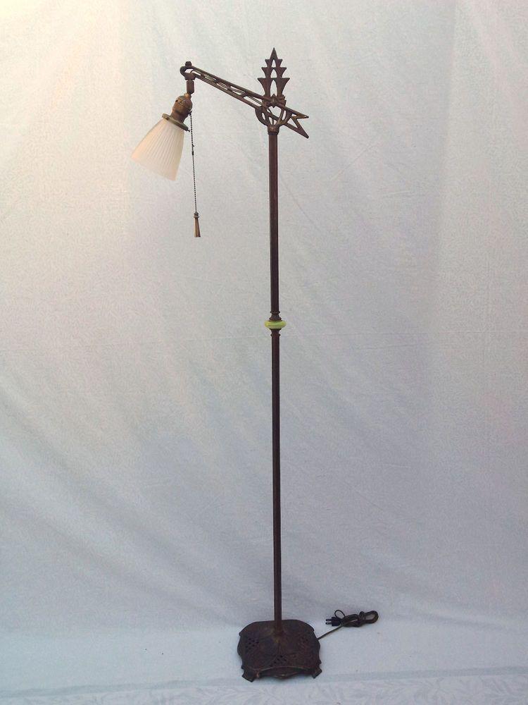 Antique Bridge Floor Lamp Art Deco Brass Plated Cast Iron w ...