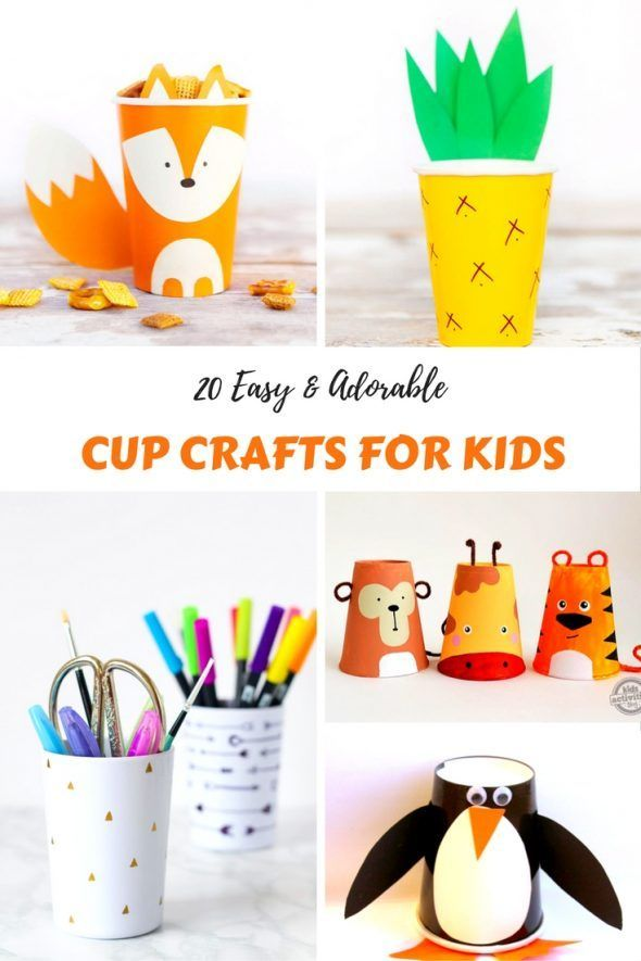 20 Easy & Adorable Cup Crafts for Kids  Busy Moms Helper is part of Crafts for kids - If youre looking for fun ideas of kid activities, these 20 Easy & Adorable Cup Crafts are just the ticket  from cute animals to useful cup storage!