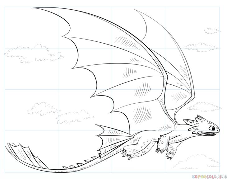How To Draw Toothless Flying Step By Step Drawing Tutorials For Kids And Beginners Ohnezahn Ausmalbilder Ohnezahn Zeichnung Drachen Malen