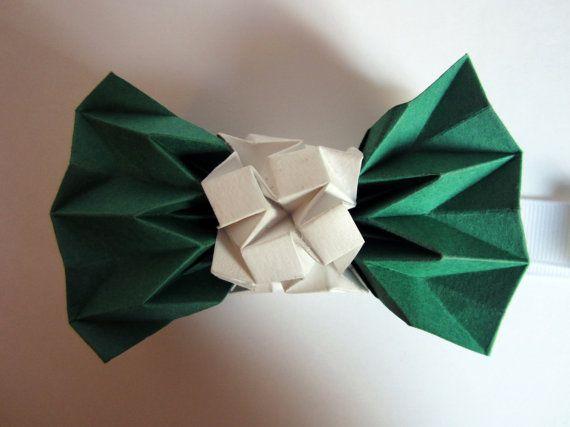 noeud papillon origami vert par Tetedecarton sur Etsy