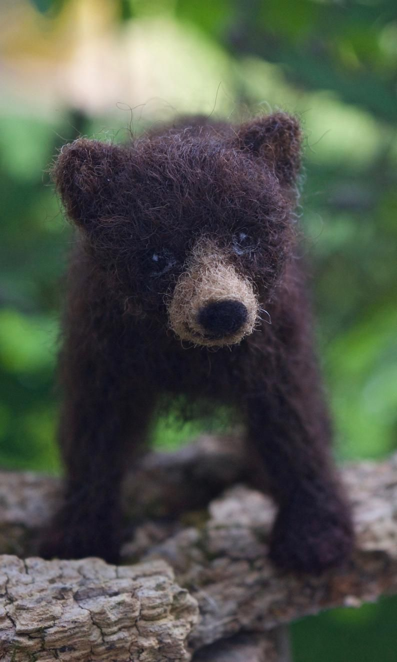 Needle Felted Black Bear Cub, Poseable, Baby Dark Brown Bear