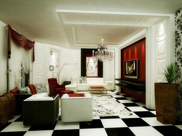 rétro plancher du salon en blanc et noir Déco contemporaine