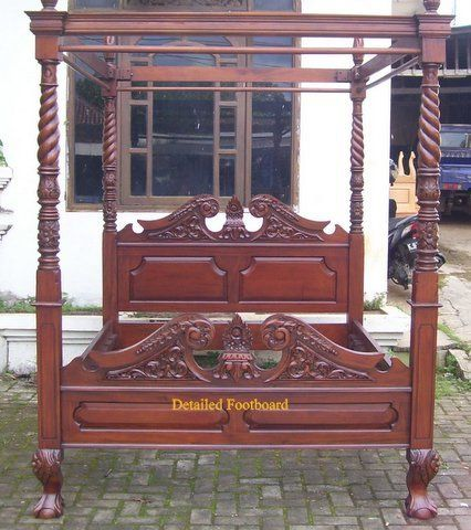 Four Poster Bed Queen Anne - 4 Poster Bed in Antique Walnut - Any Size | & Four Poster Bed Queen Anne - 4 Poster Bed in Antique Walnut - Any ...