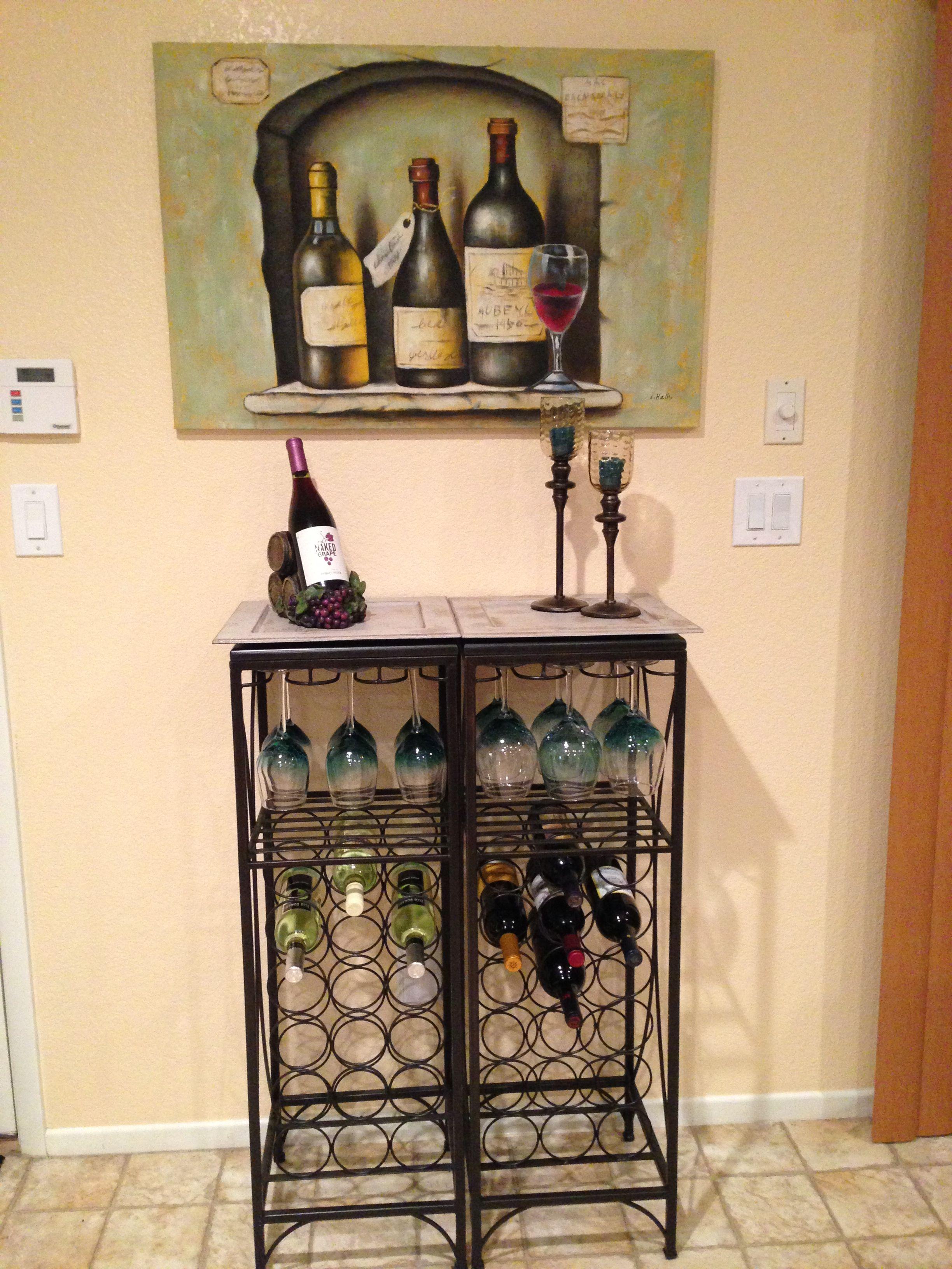 Double iron rod, granite top designed wine rack ... In love ...