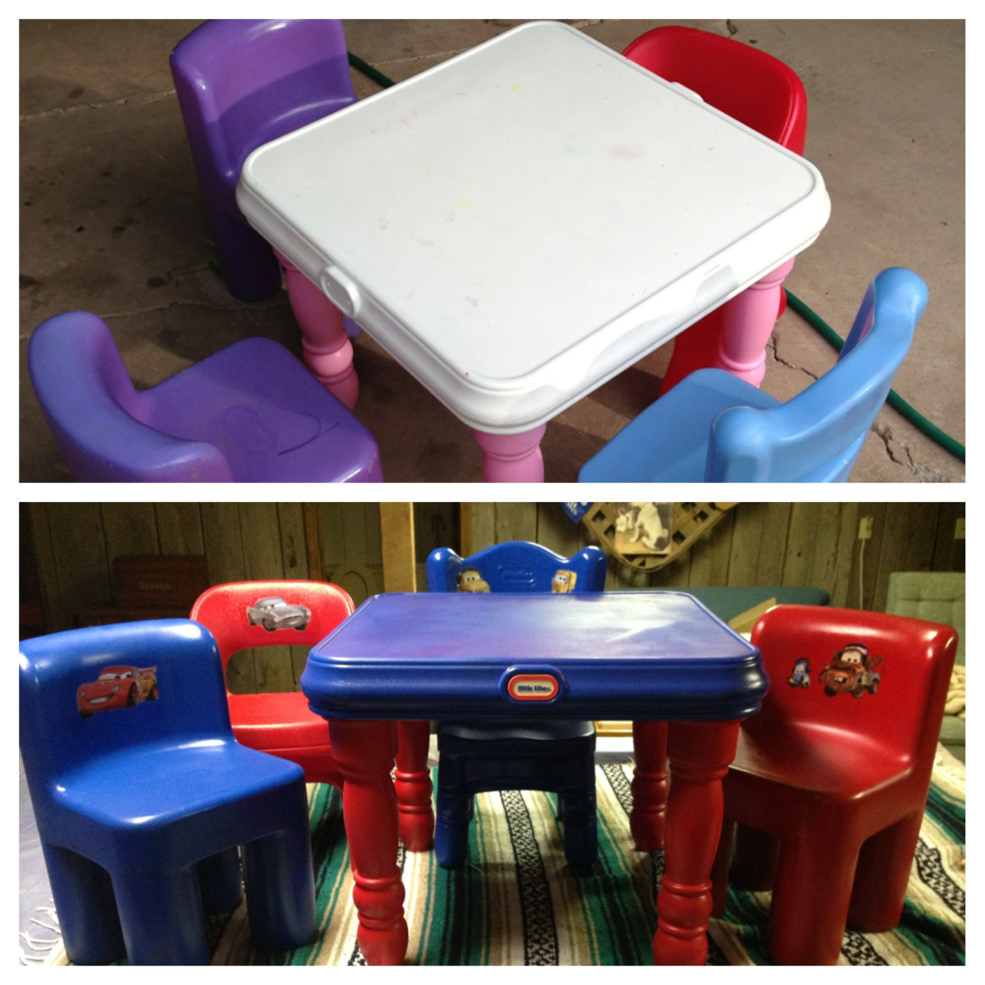 Diy Little Tikes Table And Chairs We Used Krylon Fusion Spray Paint For Plastic And Mod Podged