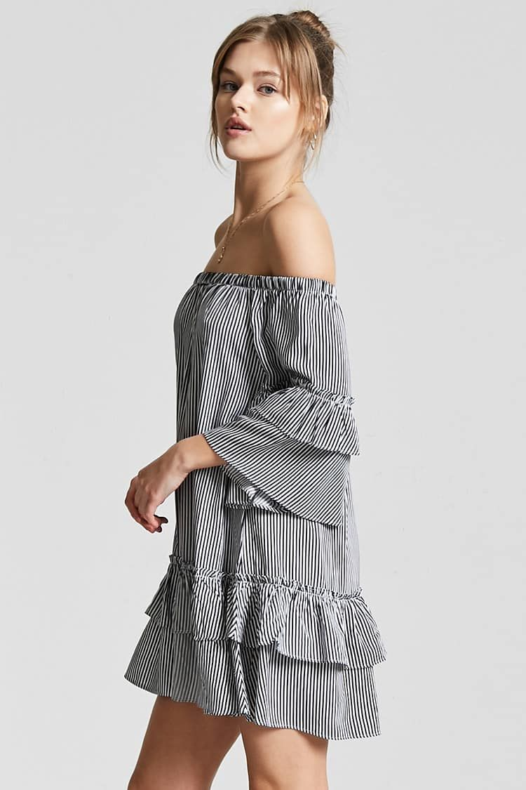 Stripe Off-the-Shoulder Dress - Women - New Arrivals - 2000258809 - Forever  21 Canada English da34a3736