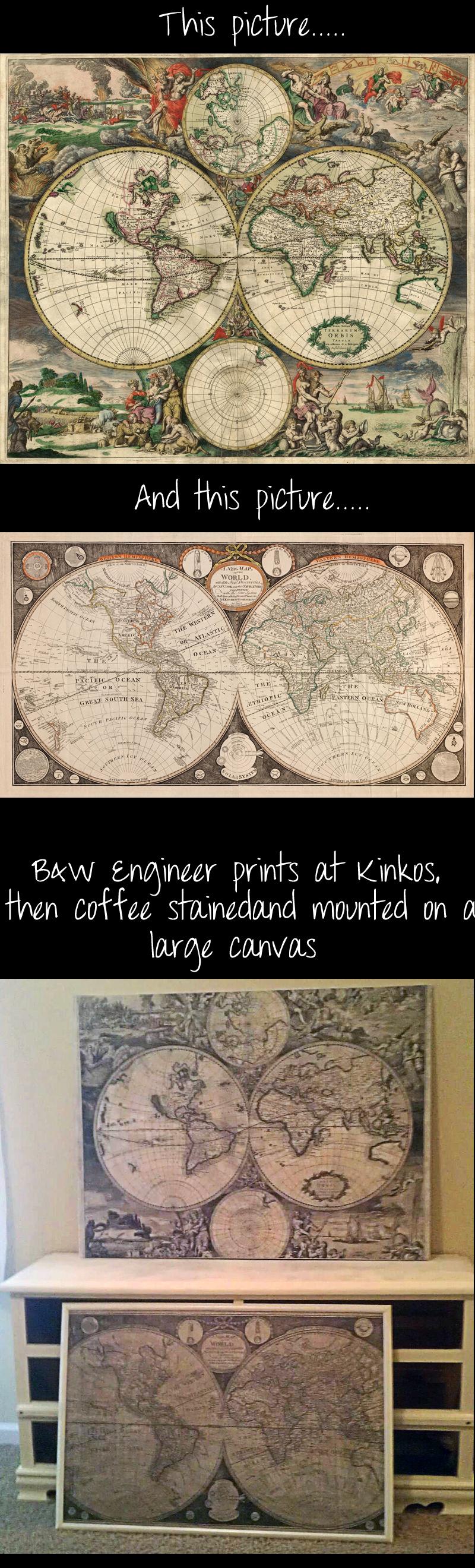 Diy world map teacoffee stain mod podge engineer prints large diy world map teacoffee stain mod podge engineer prints large gumiabroncs Gallery