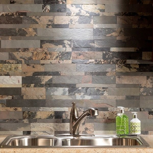How To Cut Decorative Tile Aspect 6 X 24Inch Medley Slate Peel And Stick Stone Backsplash