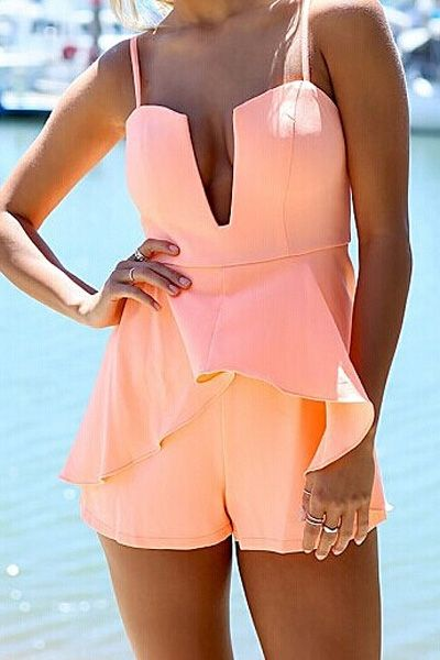 Spaghetti Strap Solid Color Flounce Splicing Romper
