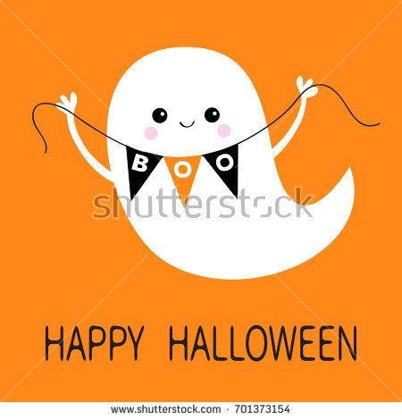 Flying ghost spirit holding bunting flag Boo Happy Halloween Scary - halloween design