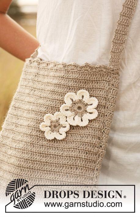 Gehäkelte DROPS Tasche mit Blumen | Häkeln | Pinterest | Blumen ...