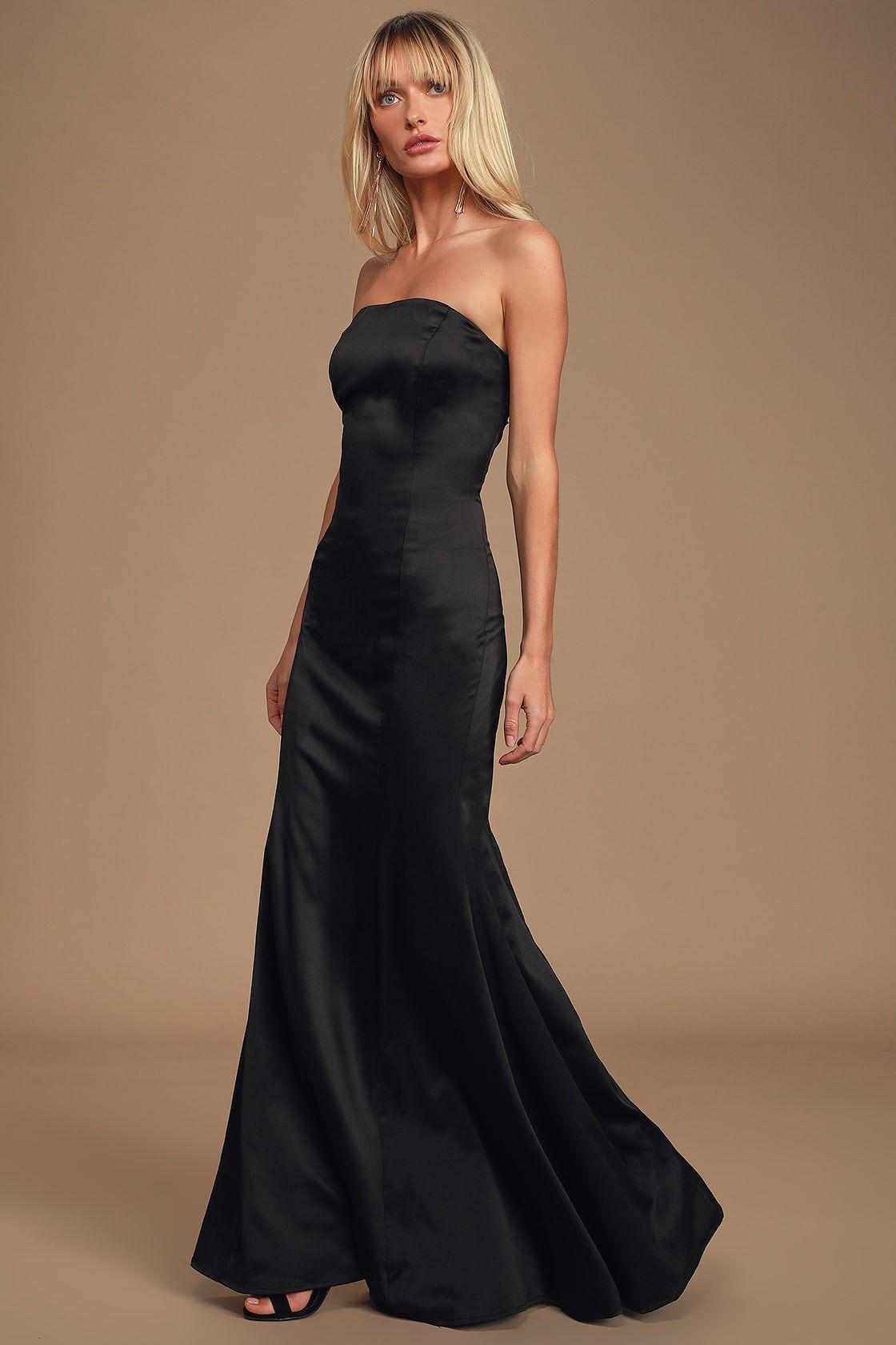 Hearts Run Wild Black Satin Strapless Maxi Dress Dresses Strapless Maxi Dress Strapless Dress Formal [ 1680 x 1120 Pixel ]