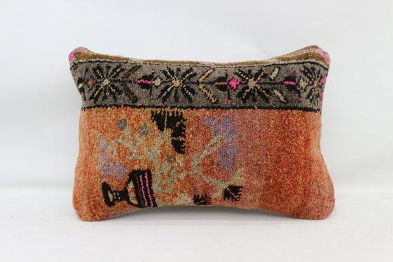 16x24 Rug Pillow, Anatolian Pillow, Neck Pillow, Throw Pillow, Cushion Cover,Decorative Pillow,Orang