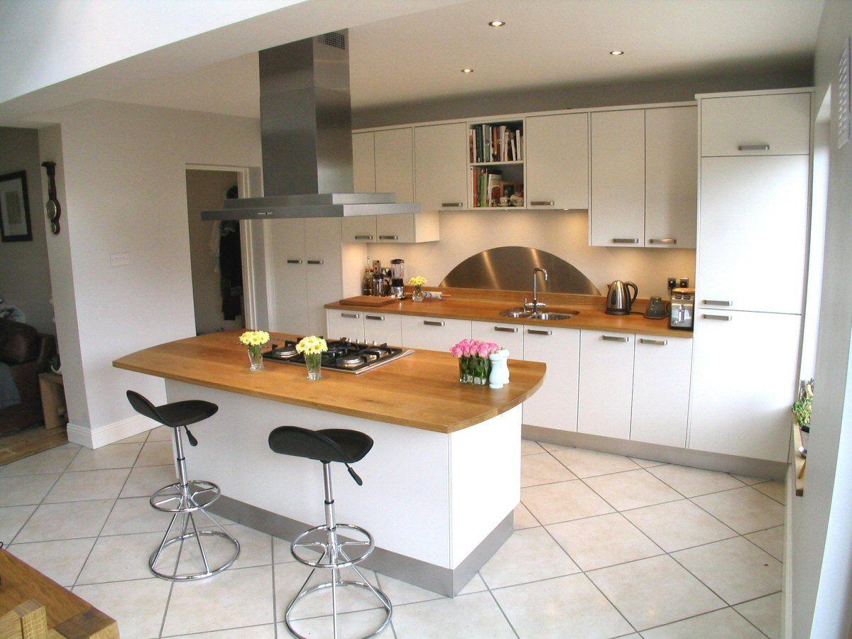 White kitchen with oak worktop  minimalism in 2019