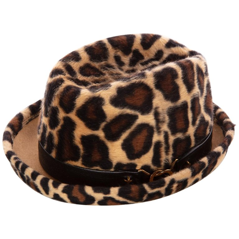 a056c1e44c614 1970s Yves Saint Laurent Leopard Animal Print Hat YSL