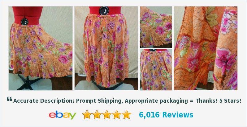 Flouncy Full Skirt Forbidden Size M 100% Rayon Orange w/ Floral Full Sweep | eBay #forbidden #fullskirt