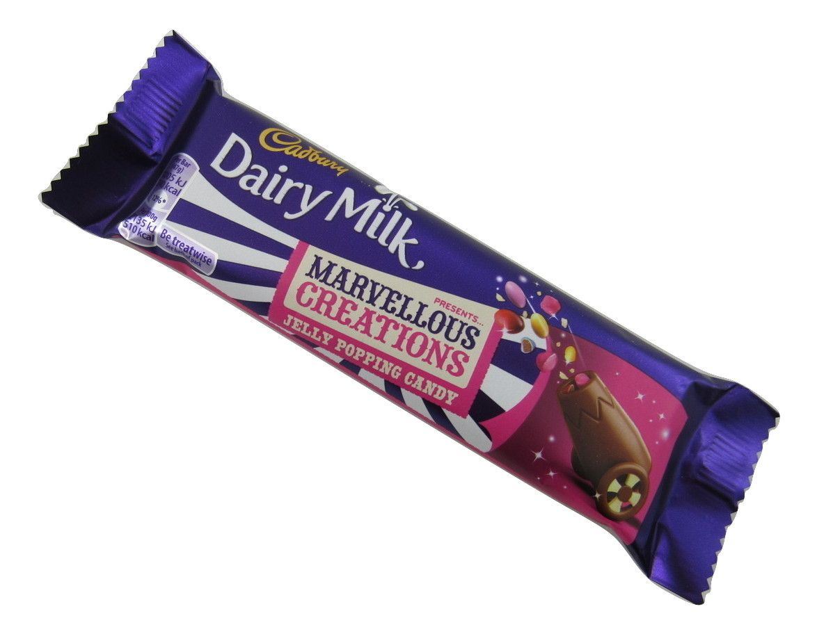 Cadbury's Marvellous Creations really are just that – marvellous!  These Jelly Popping Candy ones are the famous Cadbury's milk chocolate with jelly beans and popping candy throughout.