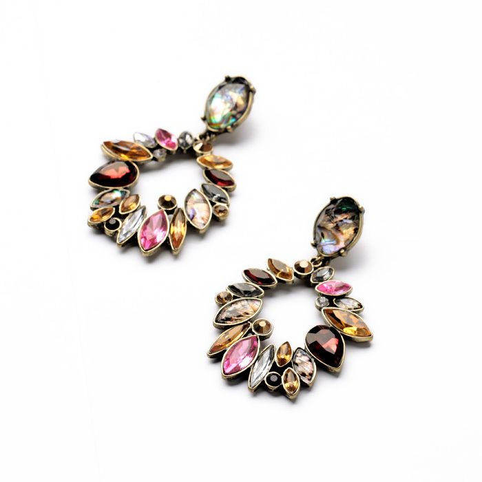 Mysterious Elegant Fashion Female Shiny Gold Color Irregular Stone Red Earrings