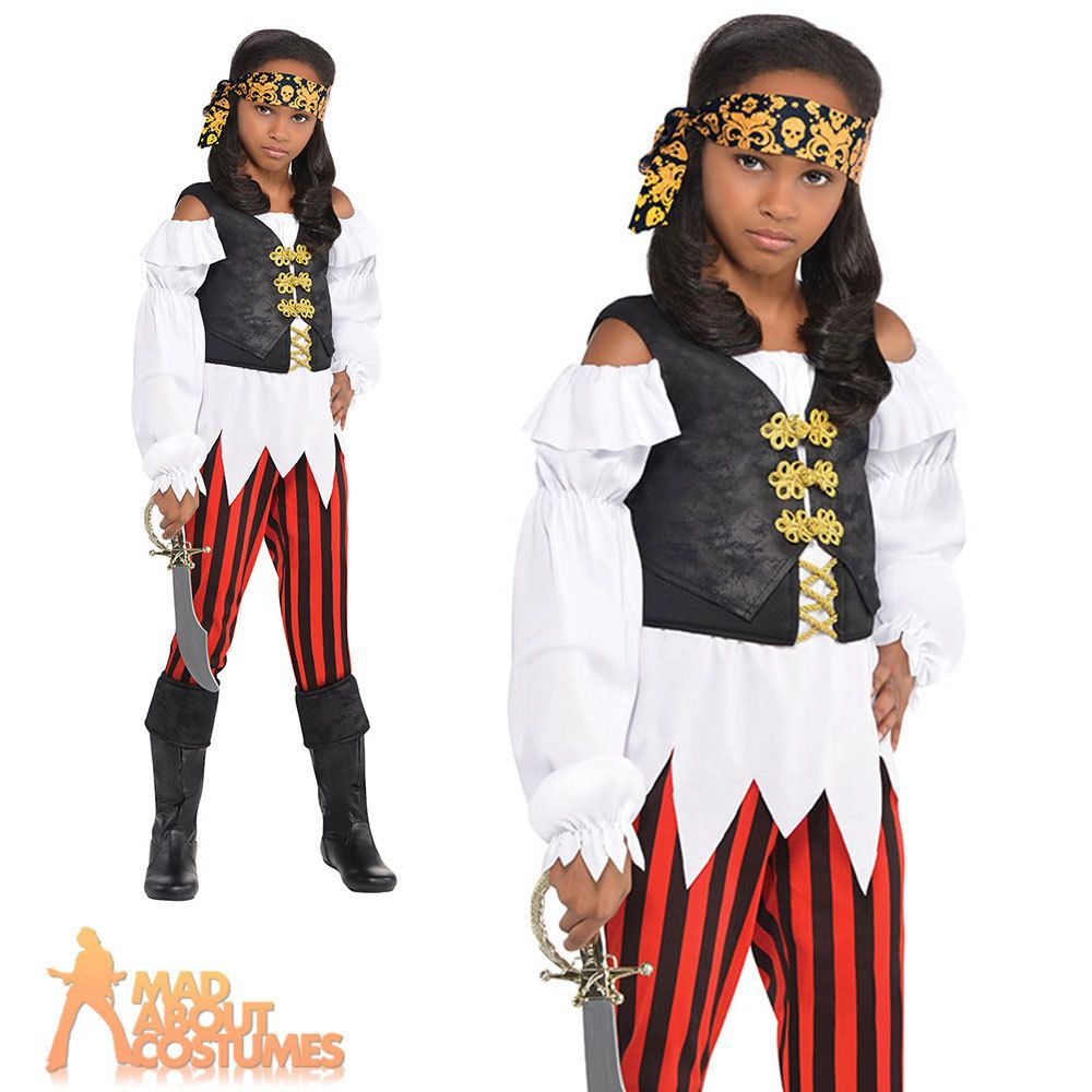 Childrens Fancy Dress Pirate Boy Costume Black//White Kids Childs New by Smiffys