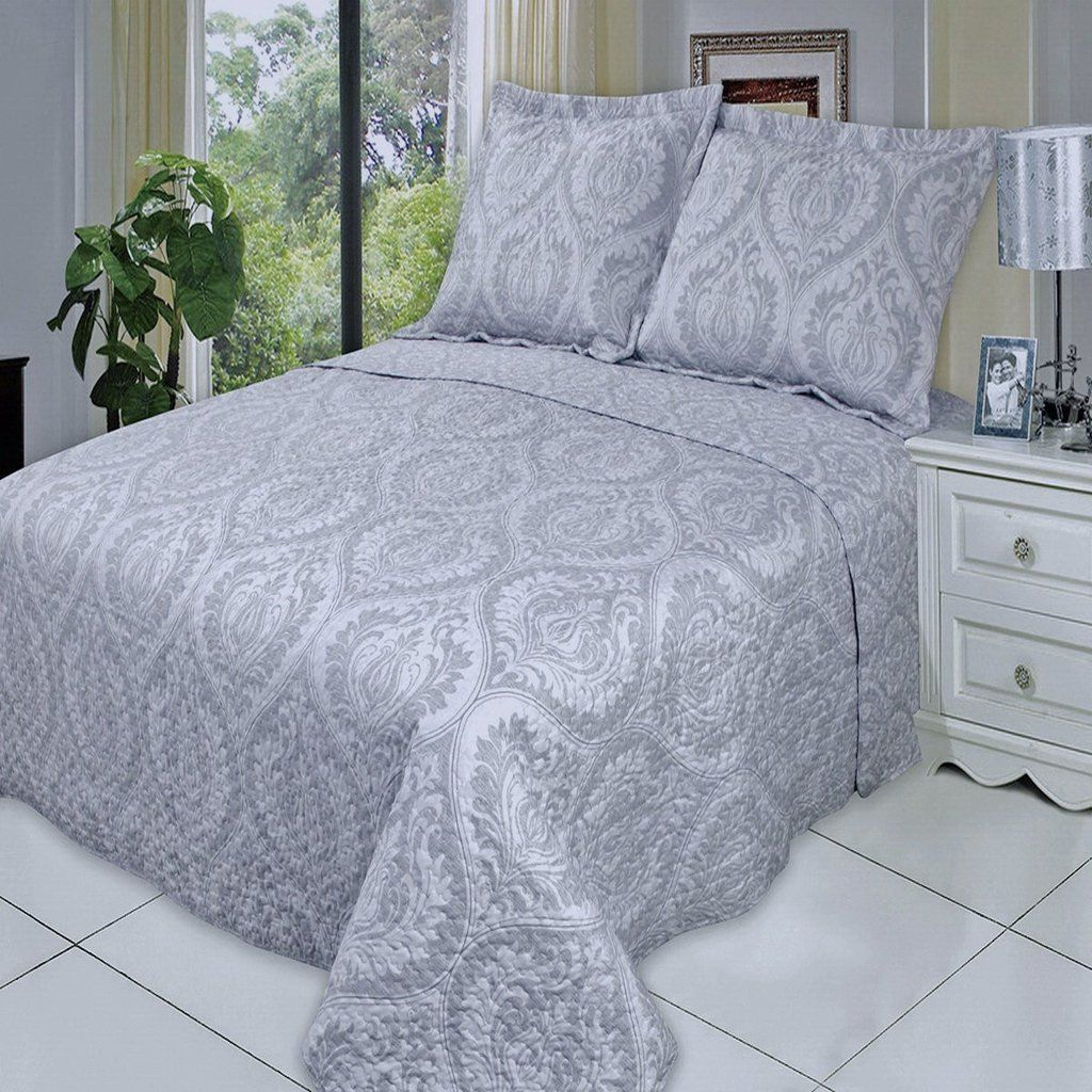 Modern Light Grey Medallion Quilt Coverlet Set Oversized | Quilt ... : oversized quilts and coverlets - Adamdwight.com