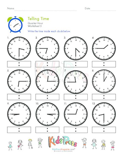 Telling Time Quarter Hour Worksheet 5 Worksheets Pinterest